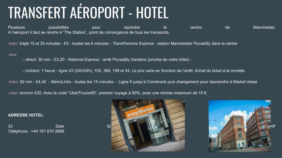 info tranfert et hotel roadbook