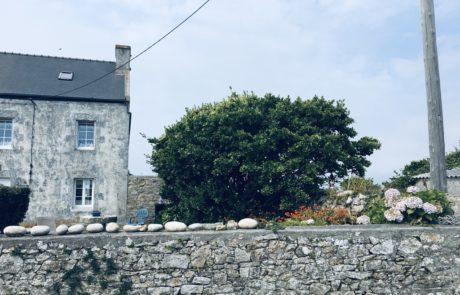 maison typique ouessant et mur en pierre