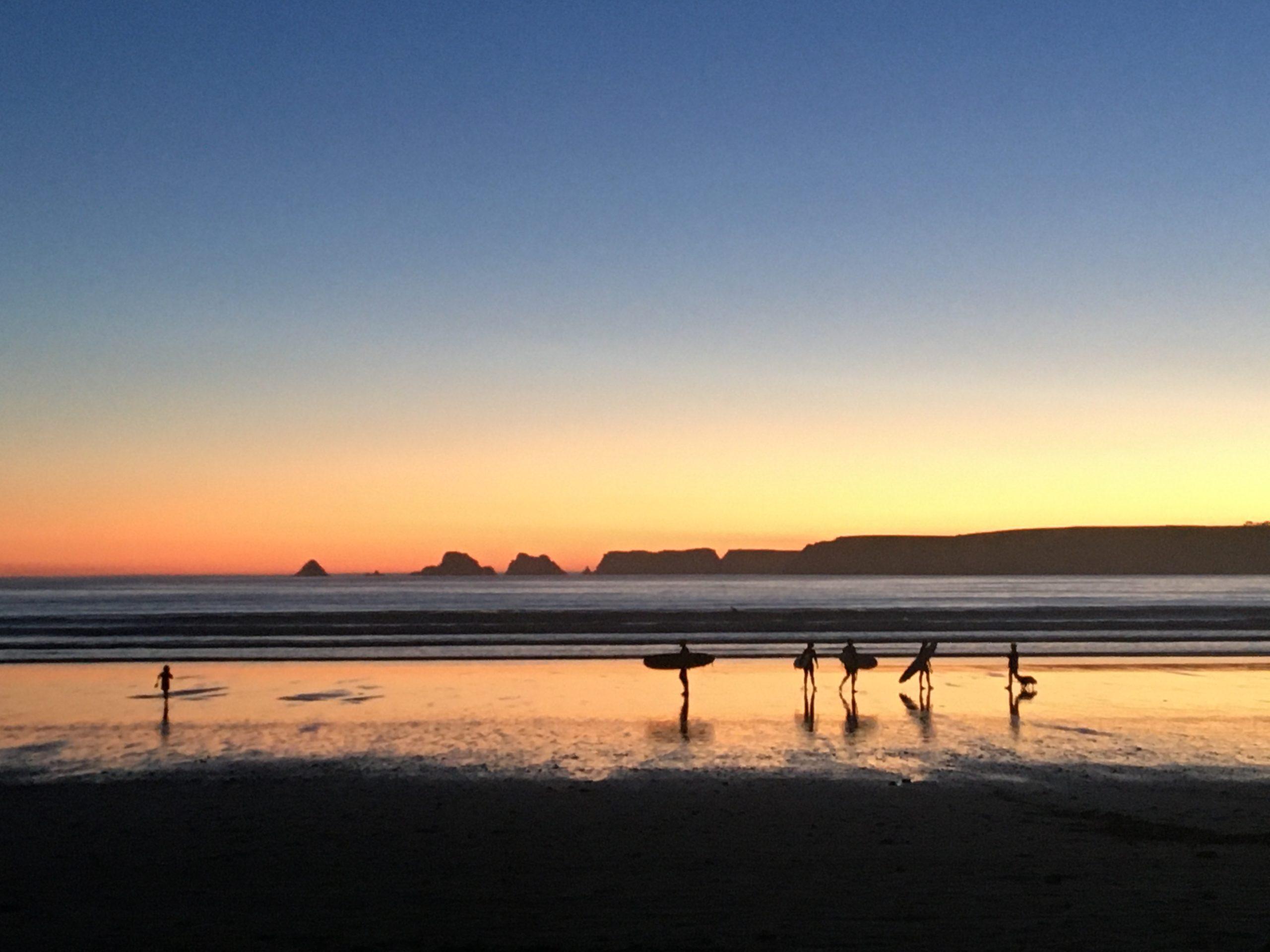 coucher soleil surfers plage
