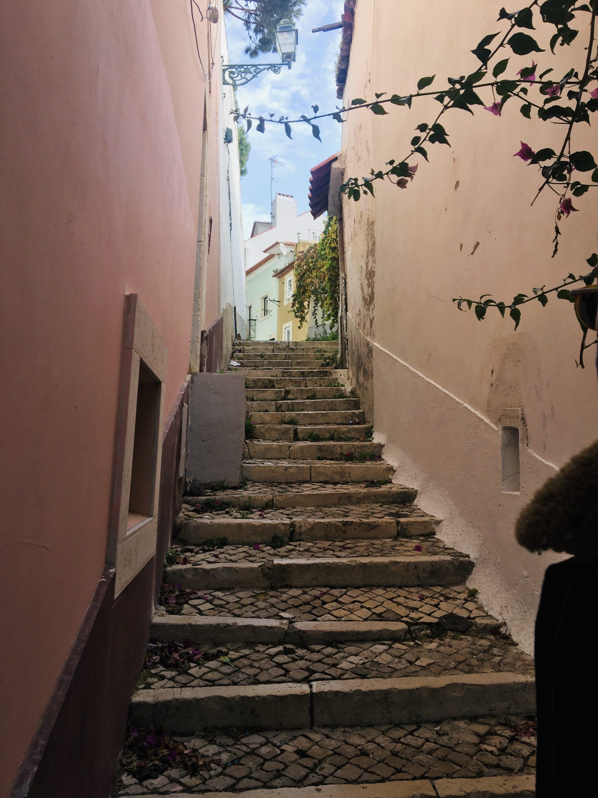 escalier murs roses